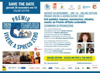 Giovedì 26, premio 'Vivere a Spreco Zero': ecco come partecipare all'evento