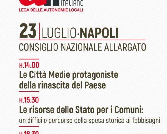 Consiglio Nazionale di ALI, il 23 luglio a Napoli. Marino tra gli invitati a un dibattito